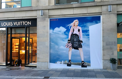 Louis Vuitton Retail Graphic example on the street for shop in Edinburgh