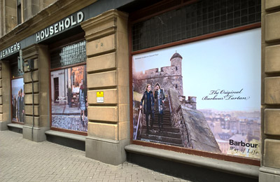 Window Graphics example for shop on the high street in Edinburgh, Scotland